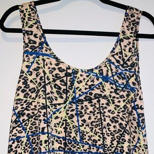 Lush, Cheetah print/Neon striped Blouse, SZ L